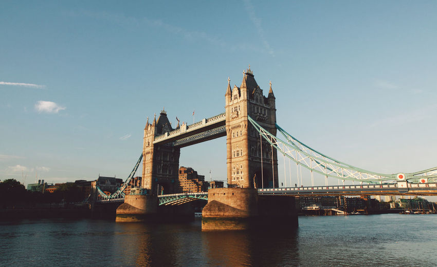 Architecture Bridge Bridge - Man Made Structure Built Structure Capital Cities  City London Lifestyle Connection Culture Engineering Famous Place International Landmark Outdoors River Sky Summer Sunset Suspension Bridge Thames Thames River Tourism Tower Bridge  Tower Bridge  Travel Destinations Water EyeEm LOST IN London Postcode Postcards British Culture