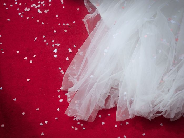 Bride Close-up Confetti Day Dress Train Hearts Love Marriage  No People Red And White Tulle Wedding Wedding Dress Wedding Dress Train