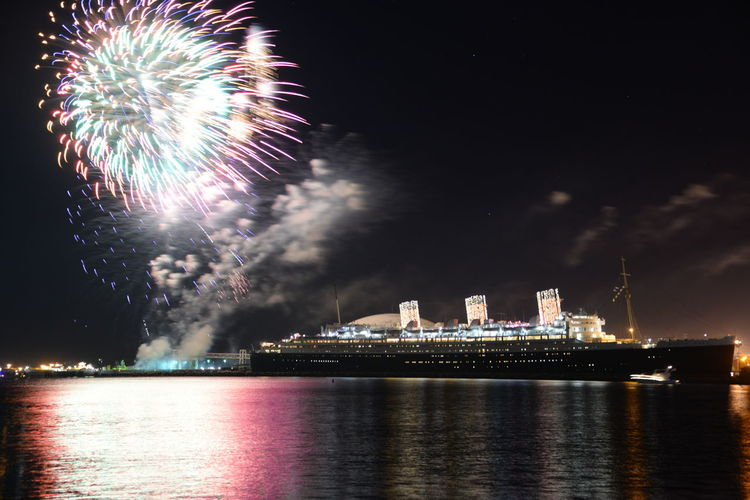 The Queen Mary in Long Beach Harbor on January 1st 2016. Photo By Darren Bjorlin. Bespokeimagess.com 2016 Cruise Ship Exposure Fireworks Harbor Long Beach Harbor Long Exposure Mode Of Transport Nautical Vessel Night No People Outdoors Passenger Craft Ship Sky The Queen Mary Transportation Water First Eyeem Photo