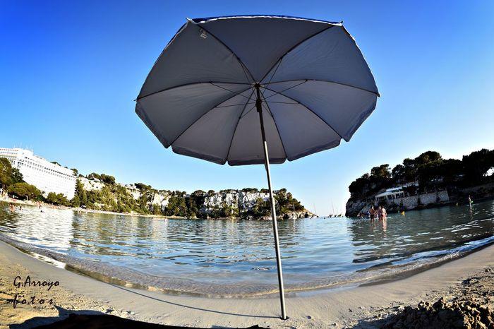 First Line Beach Beach Photography Menorca Balearic Islands Sea Menorca Beach Nautic Baleares Sea And Sky Balears EyeEm July 2016 Nikon D5500 Eyeemphotography EyeEm Gallery Umbrella Sombrilla SPAIN Playa