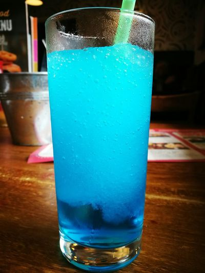 Drink Drinking Glass Alcohol Indoors  Cold Temperature Freshness Blue Lagoon Blue Coctails Cold Colorful Nice