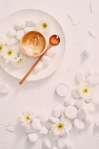 Healhty Skin. Spa Concept. Beauty In Nature Close-up Directly Above Flower Flower Head Flowering Plant Food Food And Drink Fragility Freshness High Angle View Indoors  Nature No People Plant Refreshment Skincare Skincare Product Still Life Table Vulnerability  White Color