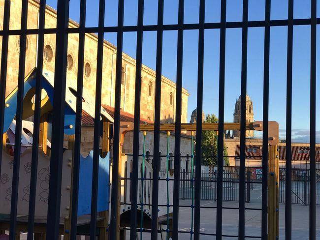 Sans Sky Security Architecture Metal Fence Protection Barrier Gate Building Exterior Blue