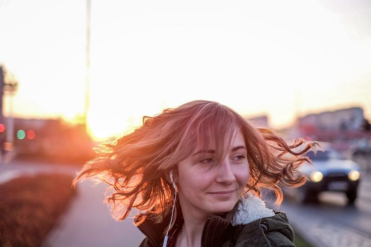 Happy hair Adult Adults Only Beauty Freshness Girl Hanging Out Happy M One Person Orange Color Outdoors People Smiling Sunset Women Young Adult Young Men Young Women Live For The Story Sommergefühle