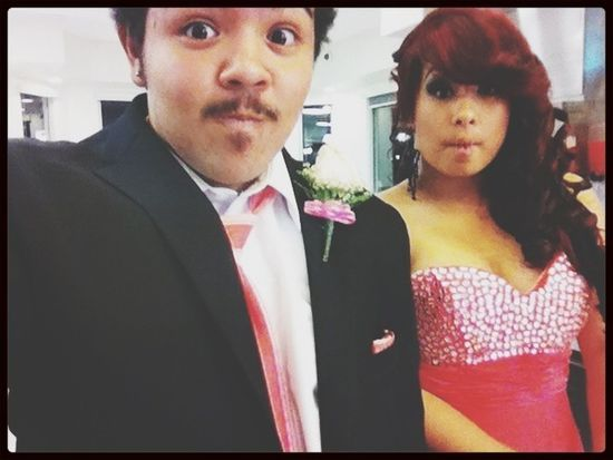 Being silly with my prom date after prom just have to love times like this