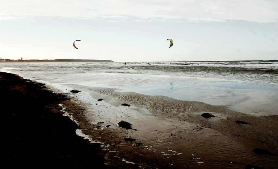 Surf's Up Surfer Kitesurfing Sail Away, Sail Away Baltic Sea Seascape Beachphotography Beach Light And Shadow Darkness And Light Waves Wavesurf Winter At The Beach Monis_Küstenliebe Sand & Sea Two Of A Kind Kites Landscapes With WhiteWall Colour Your Horizn