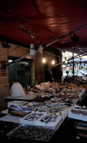 Red Illuminated Color Explosion Selling Fish Food Italy Freshness Old Open Air Market Style Travel Destinations