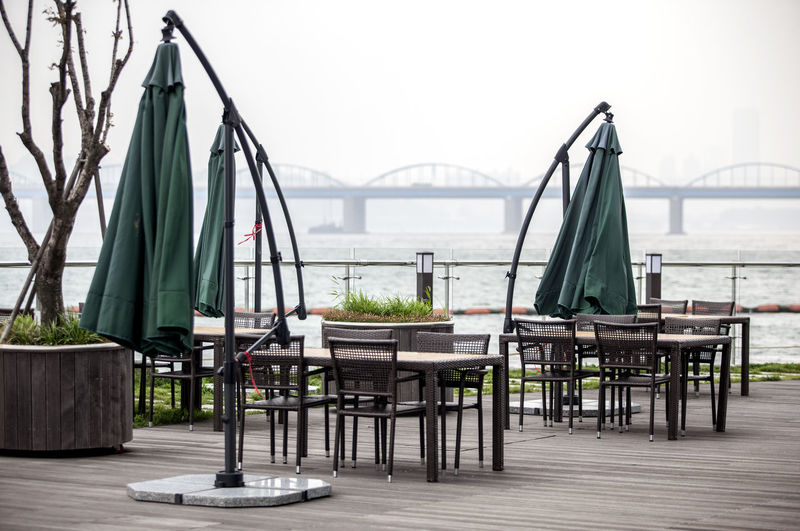 Outdoor Cafe By Han River Against Sky