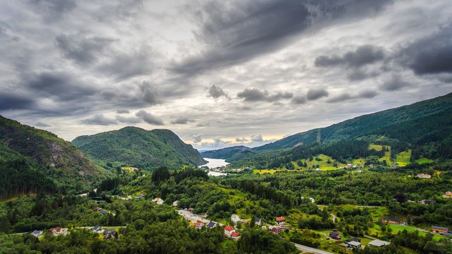 Mountain Beauty In Nature Scenics Cloud - Sky Sky Green Color Nature Bergen Bergen,Norway Norway No People DJI Phantom 4 Mountain Range Idyllic Drone  Drone Photography Dronephotography Travel Destinations Green Color Landscape Outdoors Tranquil Scene Tranquility Day Mountains