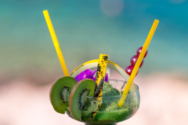 Close-Up Of Kiwi Frozen Cocktail
