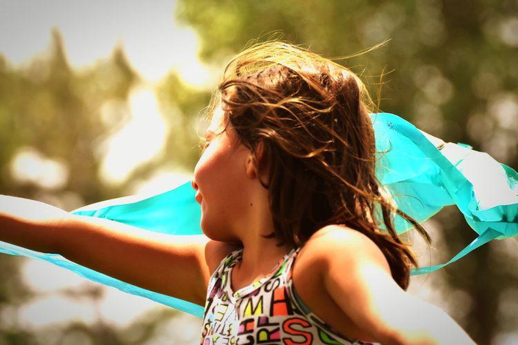 Flying kites in
