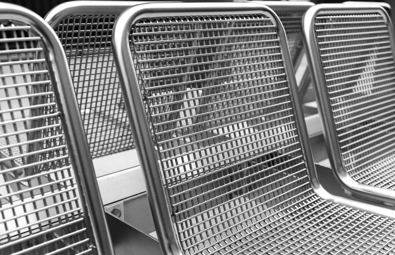 Black And White Architecture Bench Seating Seating Bench Chair Technology Underground Station  Metal No People Mode Of Transportation Land Vehicle Transportation Close-up Day Pattern Car Silver Colored Indoors  Full Frame Backgrounds Travel High Angle View Stainless Steel  In A Row Steel