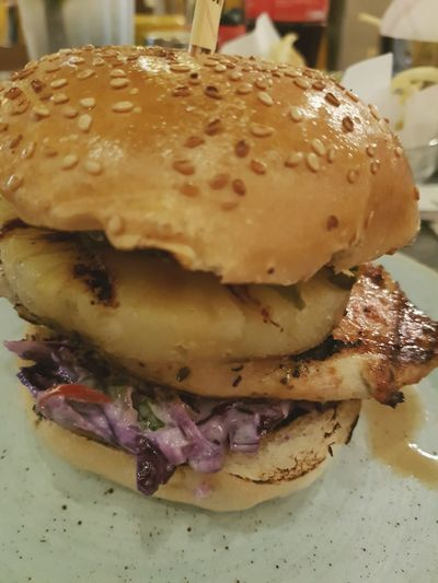Street Food Worldwide Cajun Chicken Blue Cheese Burger SLAW Coleslaw