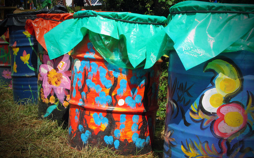 Bins Close-up Colorful Day Festival Glasto Glastonbury Glastonbury Festival Grass Multi Colored No People Outdoors Rubbish