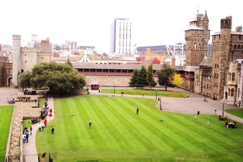 Cityscapes Cardiff Castle, A UK Listed Building In Wales Capital