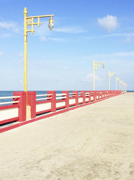 50/50 Blue Cloud Cloud - Sky Day Empty Geometry Nature No People Outdoors Pier Pole Red Seaside Sky Sunny Thailand Urban Geometry