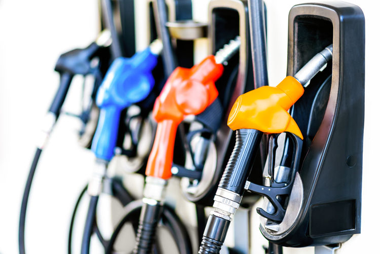 Colorful Gasoline Pumps In Row