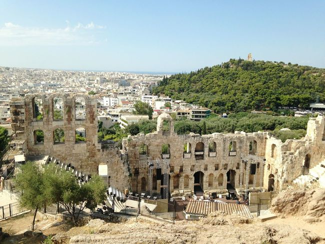 History Travel Destinations Architecture Ancient Old Ruin City Ancient Civilization Sky Cityscape Day Outdoors No People Tourism Traveling Travel Photography Cityscape Greece Athens Athens City Montain