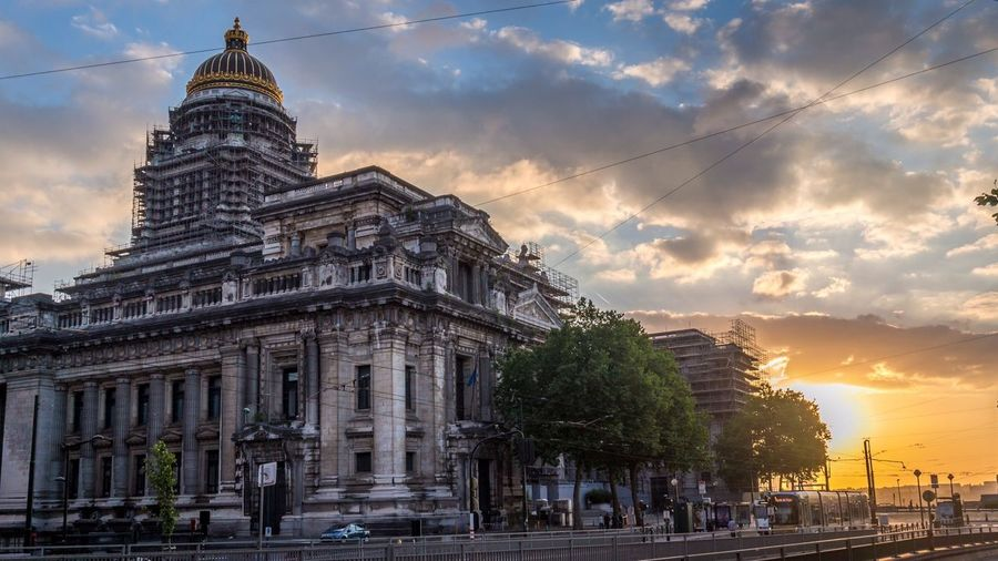 Palace of justice against cloudy sky