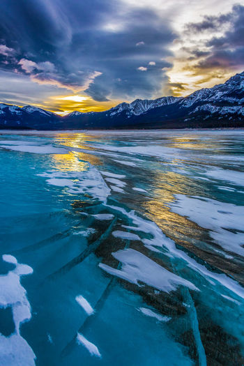 Alberta Beauty In Nature Calgary Canada Cloud - Sky Cold Temperature Day Lake Lake Abraham Landscape Mountain Mountain Range Nature No People Outdoors Reflection Scenics Sky Snow Sunset Tranquil Scene Tranquility Travel Destinations Water