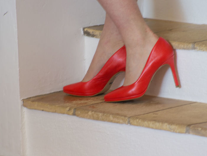 Red Pumps on the Stairs Close-up Day Fashion Female Foot Female Leg Glamour High Heels Indoors  Lifestyles Low Section Nail Polish One Person People Real People Red Red Pumps Shoe Tile Stairs Women