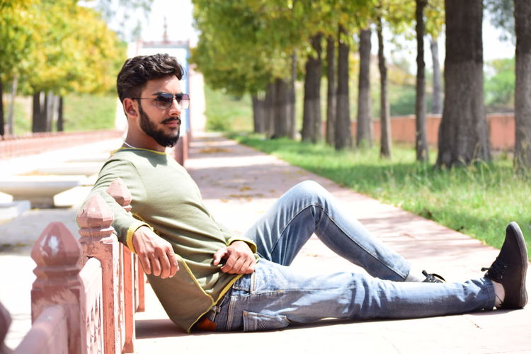 Relaxation GreenobsessedHandsome One Young Man Only City One Man Only Outdoors Summer Day