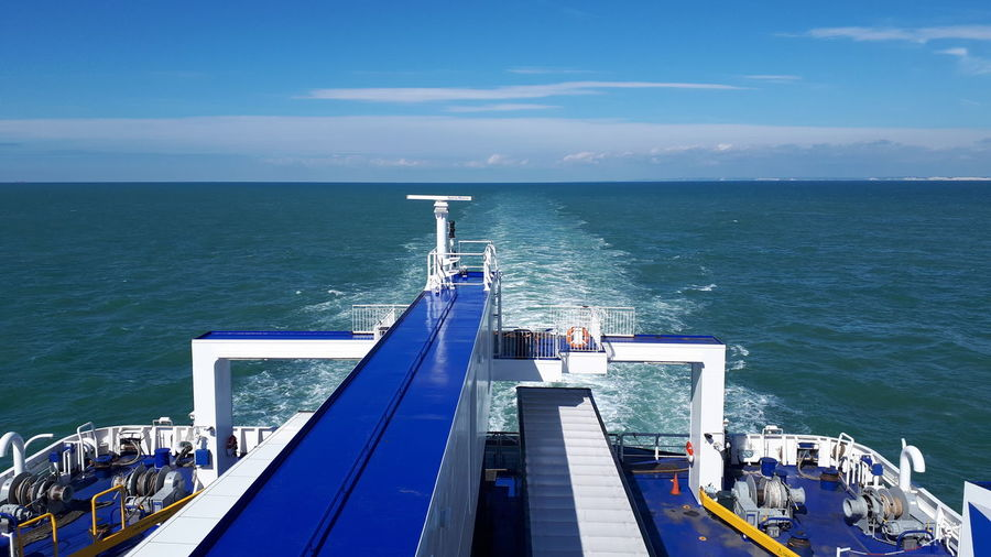 Ship Sea Blue Water Nautical Vessel Sea Industry High Angle View Horizon Over Water Sky