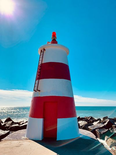Farol da Praia da Rocha, Portimão, Portugal Iphone Xs Sea Sky Water Beach Safety Protection Lighthouse Nature Horizon Over Water Blue Horizon Sunlight Day Red No People