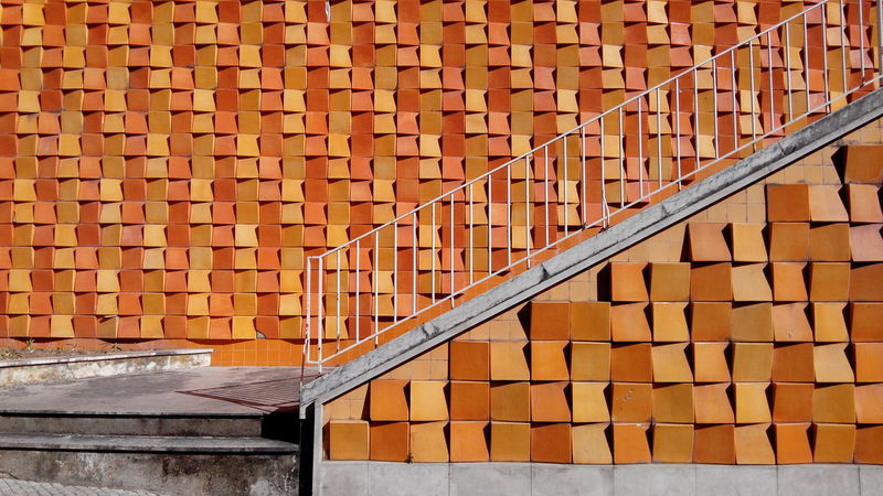 Architecture Brick Wall Built Structure Building Exterior Brick Yellow Day Outdoors Orange Color Architectural Feature No People Yellow Color Vibrant Color Exterior Repetition Modern Creativity Stairway City Exterior Stairs Stairporn Stairs To Heaven Stairsporn Azulejos