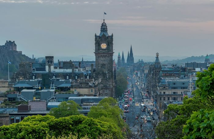 Princes Street at Edinburgh, view from Calton Hill, Edinburgh Scotland 💕 Balmoral Hotel Princes Street Visit Scotland Travel Destinations Clock Tower Architecture Cityscape