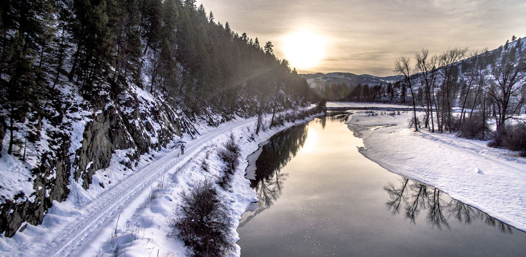 Aerial Photography Aerial View Beauty In Nature Cold Temperature Dji Drone  Dronephotography Ferry County Frozen Hiking Kettle River Landscape Nature Outdoors PNW River Scenics Skiing Snow Sunset Place Of Heart Washington State Water Winter EyeEmNewHere
