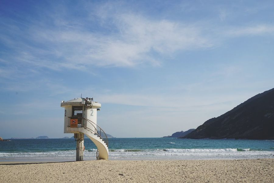 Horizon Over Water Sky Tranquility Protection Scenics Beauty In Nature Cloud - Sky Nature Lifeguard Hut Architecture Built Structure No People Outdoors