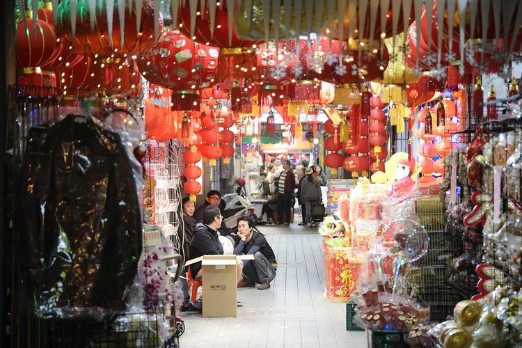 Chinese Lanterns Fairy Lights Night Retail  Store For Sale Consumerism Abundance Business Finance And Industry