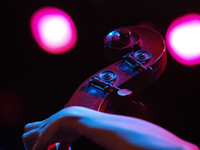 Double bass handle with stage spot light