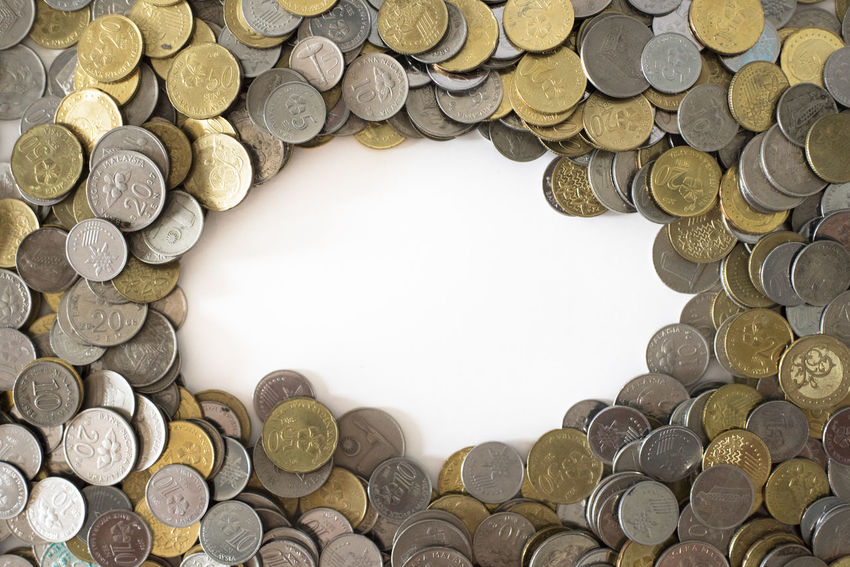 group of coins as background with copy space in the middle. Finance concept and business concept. malaysia currency Business Casino Copy Space Currency Economy Tresure Allowance Asset Background Banking Cash Coins Concept Day Earnings Finance Income Interest Investment Monetary Payment Profit Savings Tax Wealth