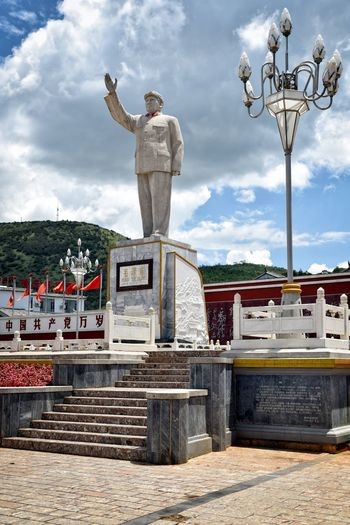 Chinese History Mao Mao Tse Tung Architecture Bridge - Man Made Structure Built Structure Chinese Culture City Cloud - Sky Day Lijiang Men Monument One Person Outdoors People Sculpture Sky Standing Statue Travel Destinations