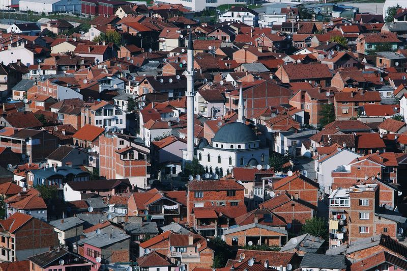 Kosovo Satellite Dishes Mosque City Cityscapes Tile Roof Red Roofs European City East Meets West Showcase March