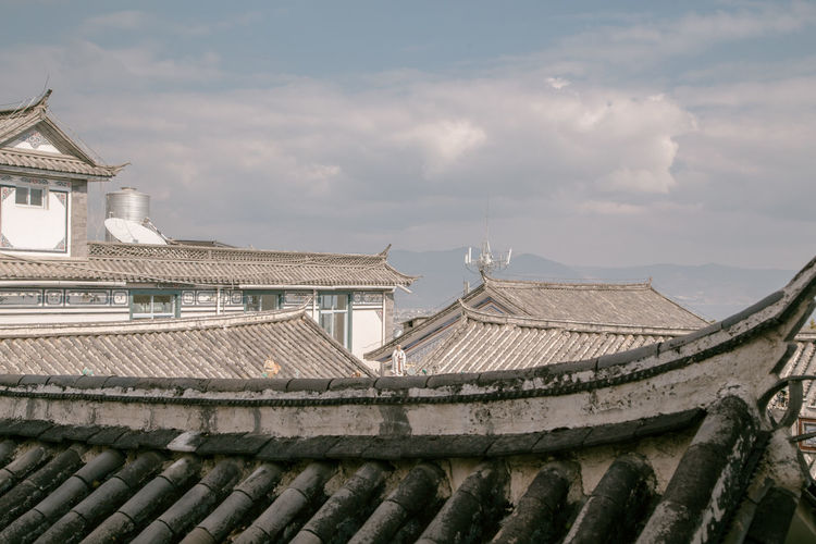 Panoramic view of temple building against sky
