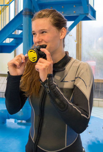 Diving Equipment Diving Mask Diving Vins Girl Girl Power Girls Happy :) In Water Inside Laughing Leisure Activity Scuba Diving Scuba Diving Course Swimming Pool Teenager Young Adult
