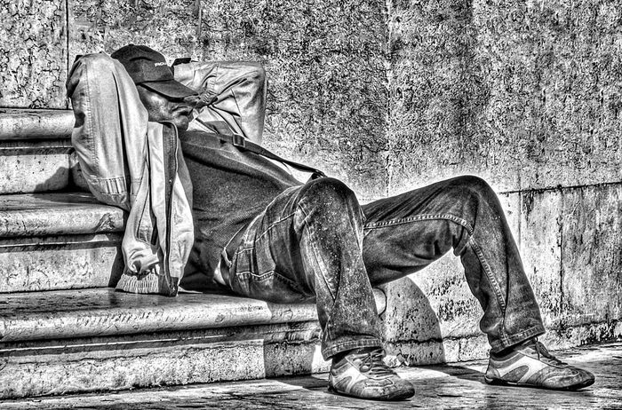 Sitting Adult People Horizontal Day One Person Outdoors Person Human Body Part Sleeping Have A Break Tired Black And White