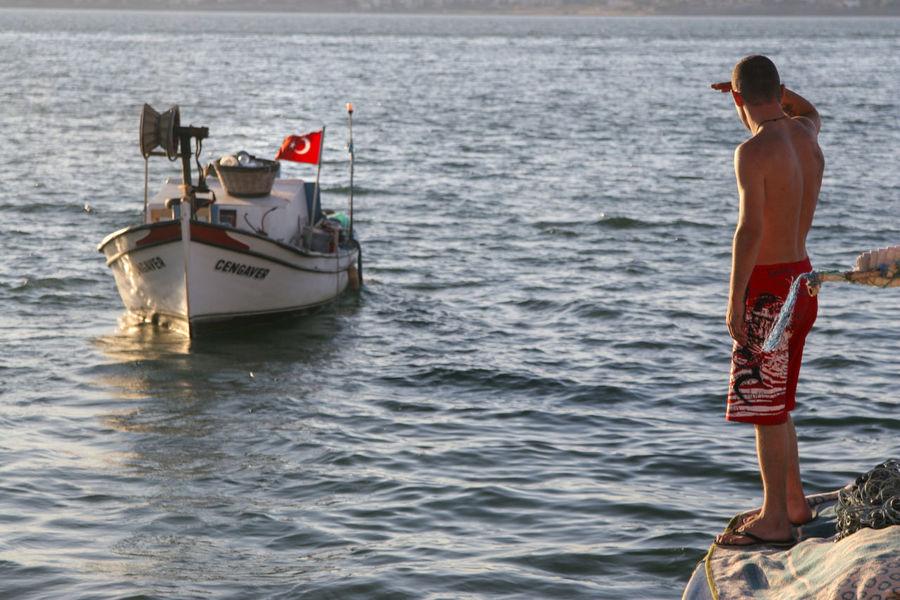 Boat Men Nautical Vessel Real People Sea Shirtless Standing Water