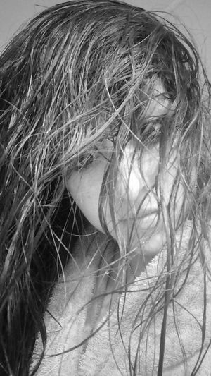 Shades Of Grey Black&white Selfie ✌ Black And White Portrait Of A Woman Blackandwhite Photography Portrait Selfportrait Young Women ShowerTime Beauty Feeling Good Hairstyle Let Your Hair Down