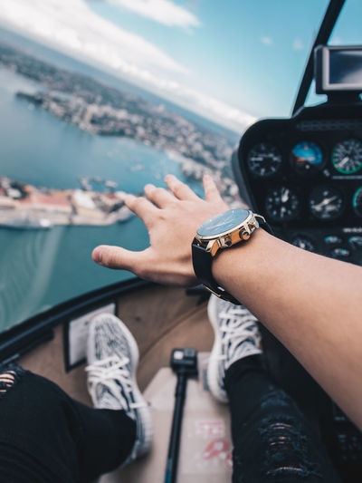 Travel Air Vehicle Lifestyles Flying Cockpit Men Personal Perspective Outdoors Helicopter Watch Sneakers Sydney