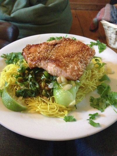 seared seasame seed salmon with pak choi ans Singapore noodles, cooked by me. Food Porn Fooood Yum Yum Ilovefood