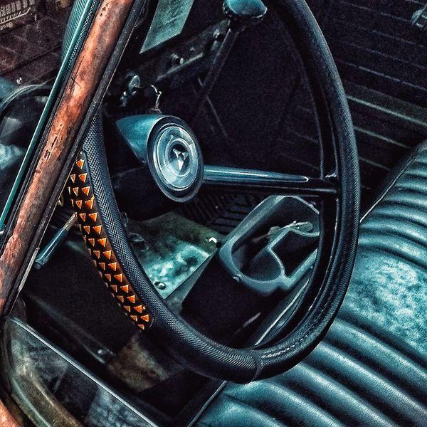Steering Wheel Old Ford Truck Classic Car Metal Indoors  No People