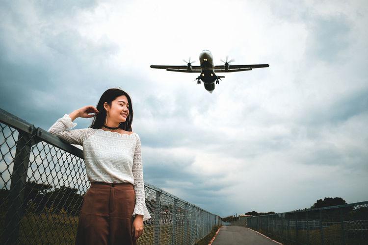 next to a plane