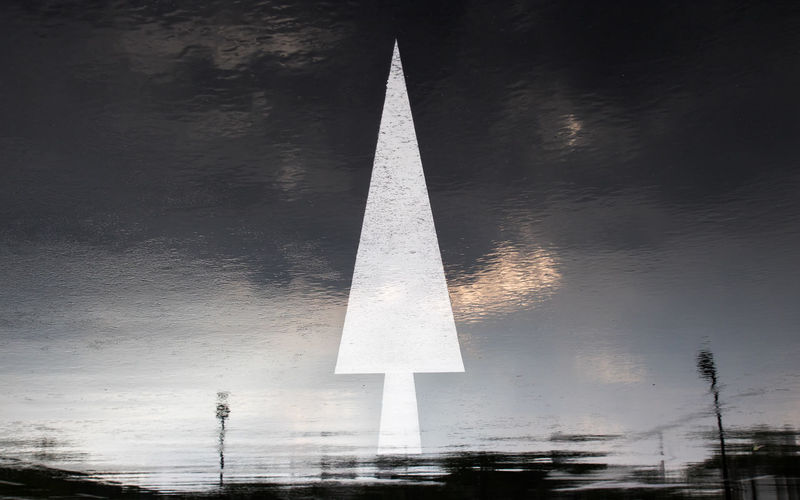 Abstract of big white arrow pointing upward to dark sky. Abstract Arrowhead Black & White Darkart Directions Guidedog Indicator_light Pointershoes Road Marking Sky_collection Street Upward Perspective White Flower