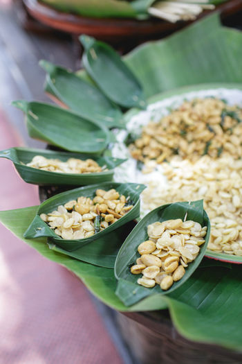 Banana Leaf Close-up Day Food Food And Drink Freshness Healthy Eating Indoors  Leaf No People Plate Ready-to-eat Thai Food Thai Sweets