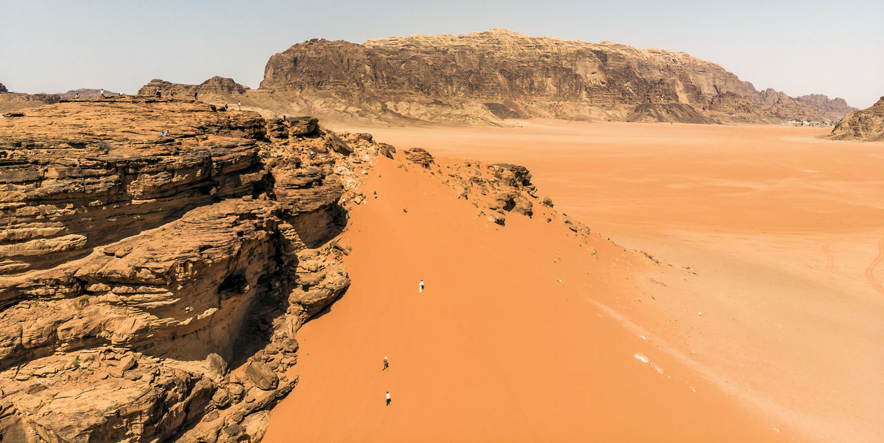 Aerial view of the Lawrence spring in the Jordanian desert near Wadi Rum Bedouin Desert Drone  Drone Landscape Jordan Lawrence Nature Panorama Red Rock Travel Wadi Rum Aerial View Dune Geology Heritage Jeep Photo From Above Sand Sand Dune Spring Stone Tourism Valley Water