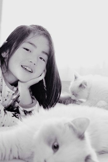 Pets Real People Domestic Animals Mammal Lifestyles One Animal Portrait One Person Animal Themes Close-up Indoors  Young Women Young Adult Day A Girl And Her Cat Kitten Ragdoll Found On The Roll ネタ切れ